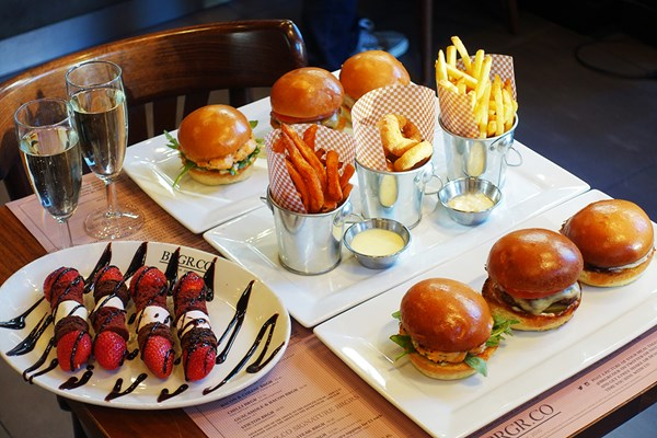 Sparkling Burger Afternoon Tea for Two at BRGR.CO Soho London