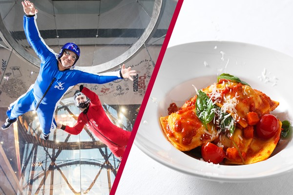 iFly Indoor Skydiving and Three Course Meal with Wine at Prezzo for Two