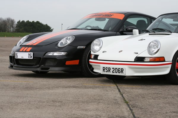 Classic and Modern Porsche 911 Driving Blast
