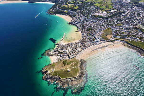 Aerial view of Cornwall from the air