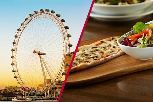 The London Eye Tickets and Three Course Meal with Wine at Prezzo Trafalgar Square