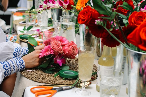 Flower Arranging with Bottomless Fizz for Two at Moyses Stevens Flowers
