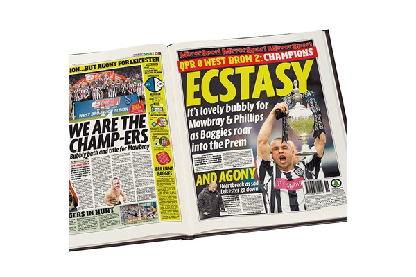 Personalised West Bromwich Albion Football Newspaper Book