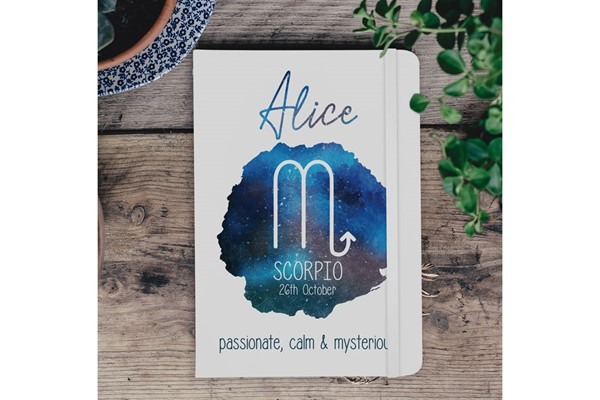 Horoscope Personalised A5 White Notebook