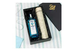 Buy Bombay Sapphire Gin and Original Newspaper in a Luxury Gift Box