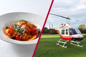 Buy 6 Mile Blue Skies Helicopter Tour with Bubbly and Three Course Meal with Wine at Prezzo for Two