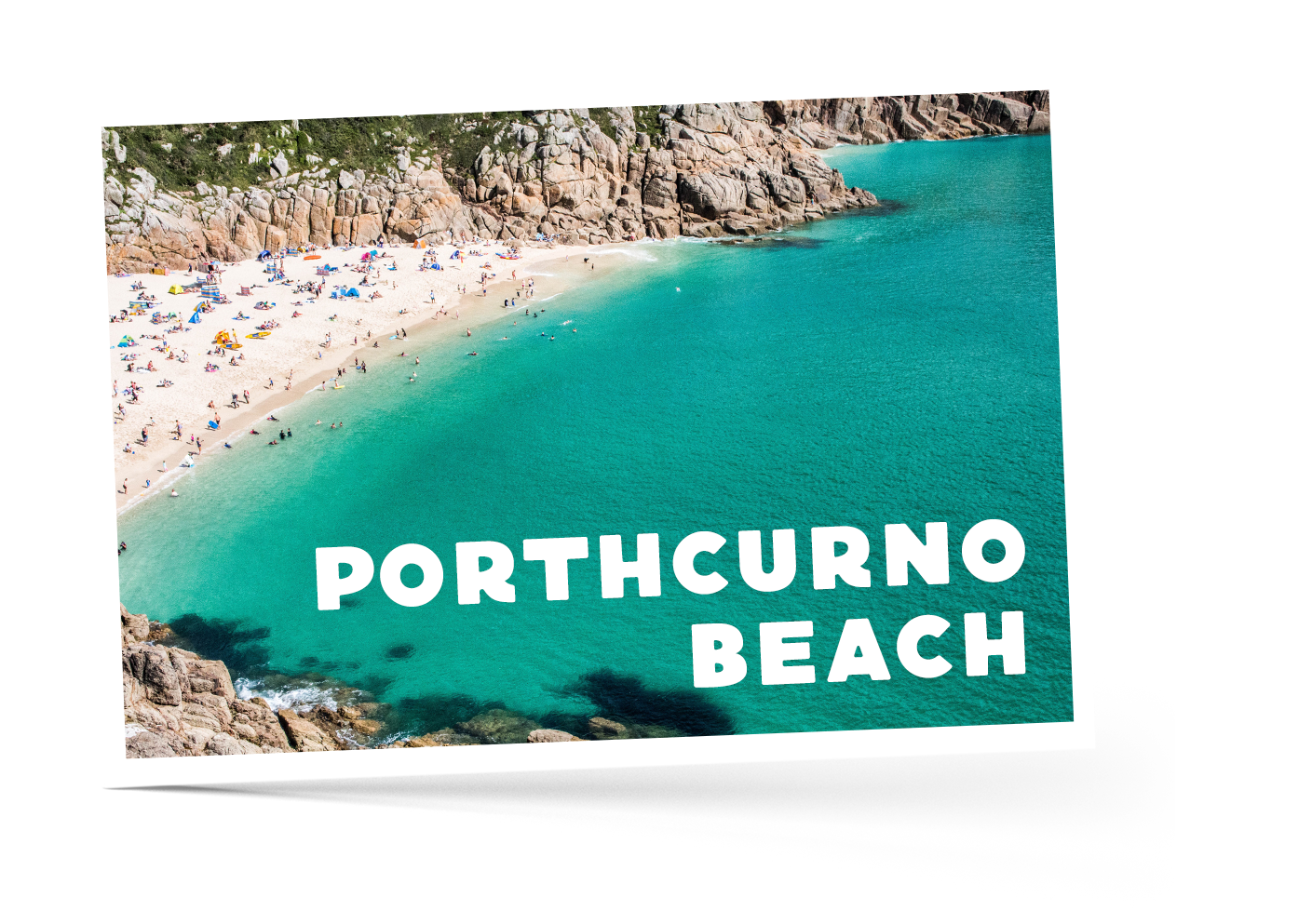 Aerial view of Porthcurno Beach in Cornwall