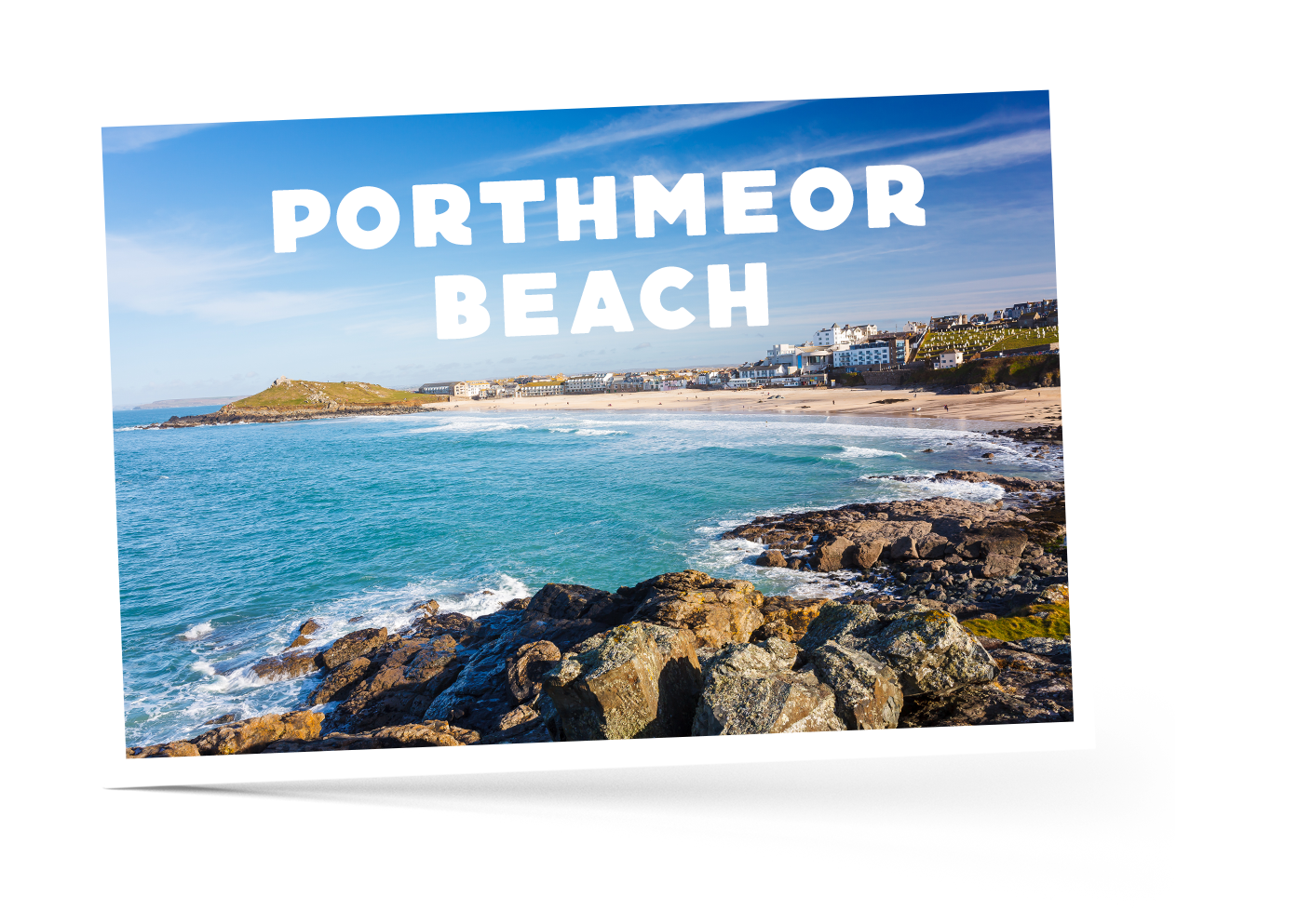 Blue skies over Porthmeor beach in Cornwall